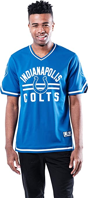 NFL Indianapolis Colts Men's Standard Jersey V-Neck Mesh Stripe Tee Shirt