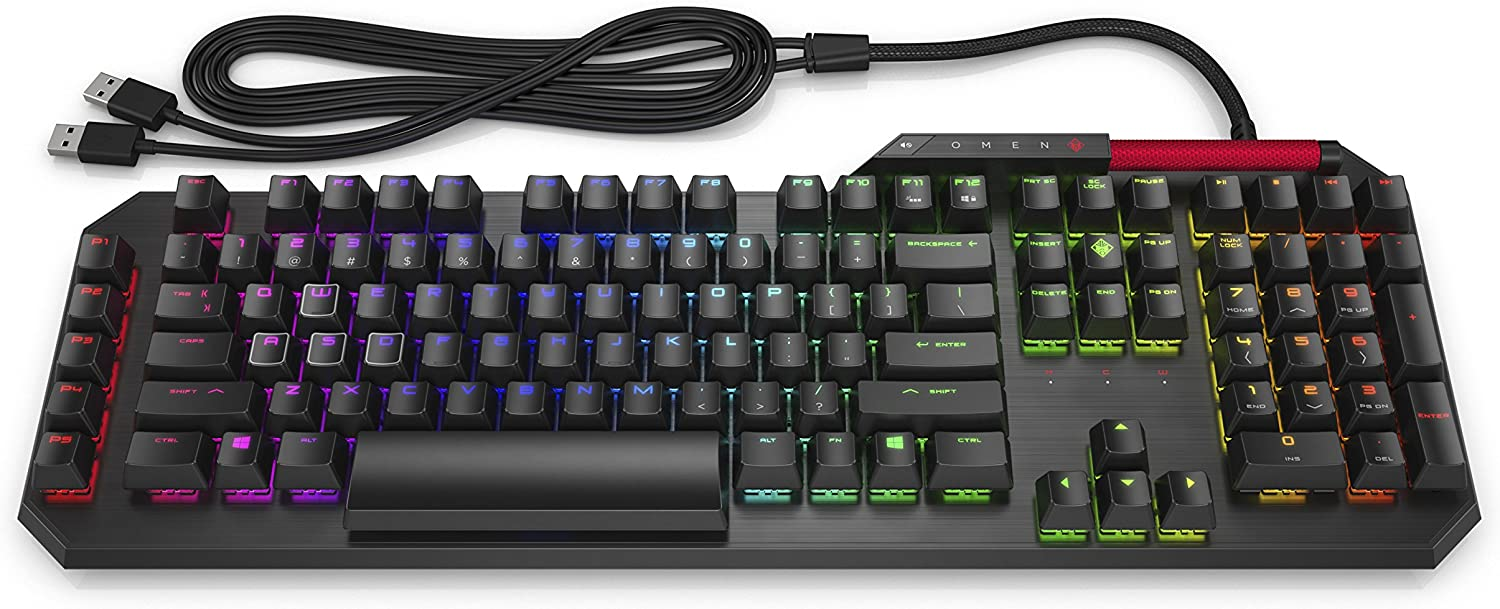 Omen by HP Sequencer Wired USB Mechanical Optical Gaming Keyboard – 10X Faster – Blue Switch - Volume Roller Bar – 16.8M RGB Colors – Anti Ghosting