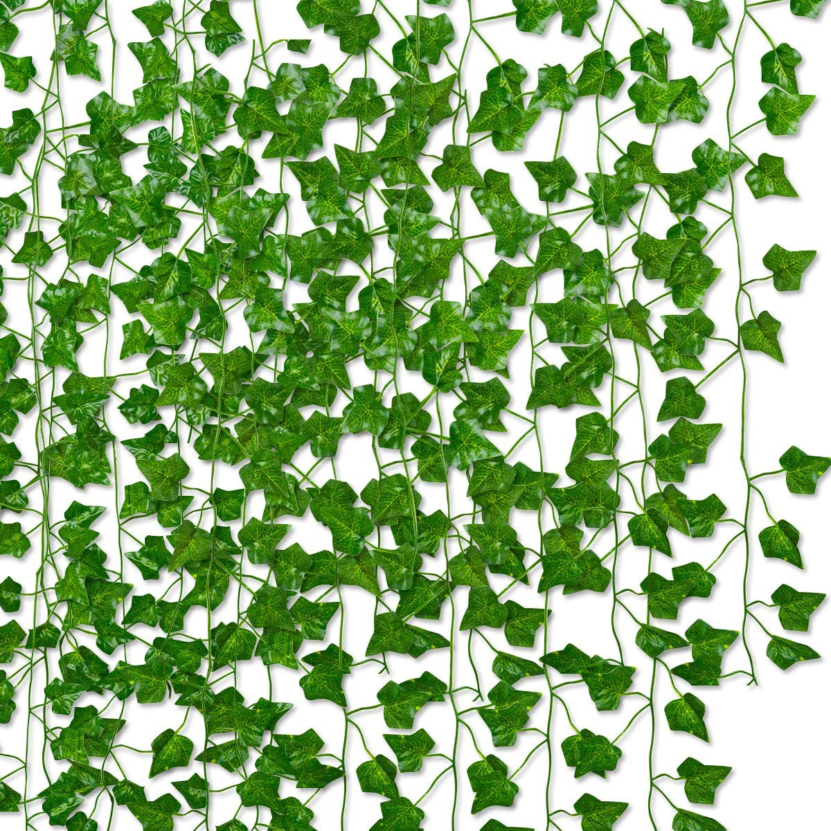 E Shop LLC 84 Ft 12 Strands Artificial Ivy Garland Vine Fake Greenery Leaf Decor Faux Green Hanging Plant Vine for Wall Party Wedding Room Home Garden Kitchen Wall Office Indoor & Outdoor Dec