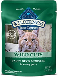 Blue Buffalo Wilderness High Protein Grain Free Natural Wild Cuts Adult Wet Cat Food Pouch, Duck 3-oz pouches (Pack of 24)