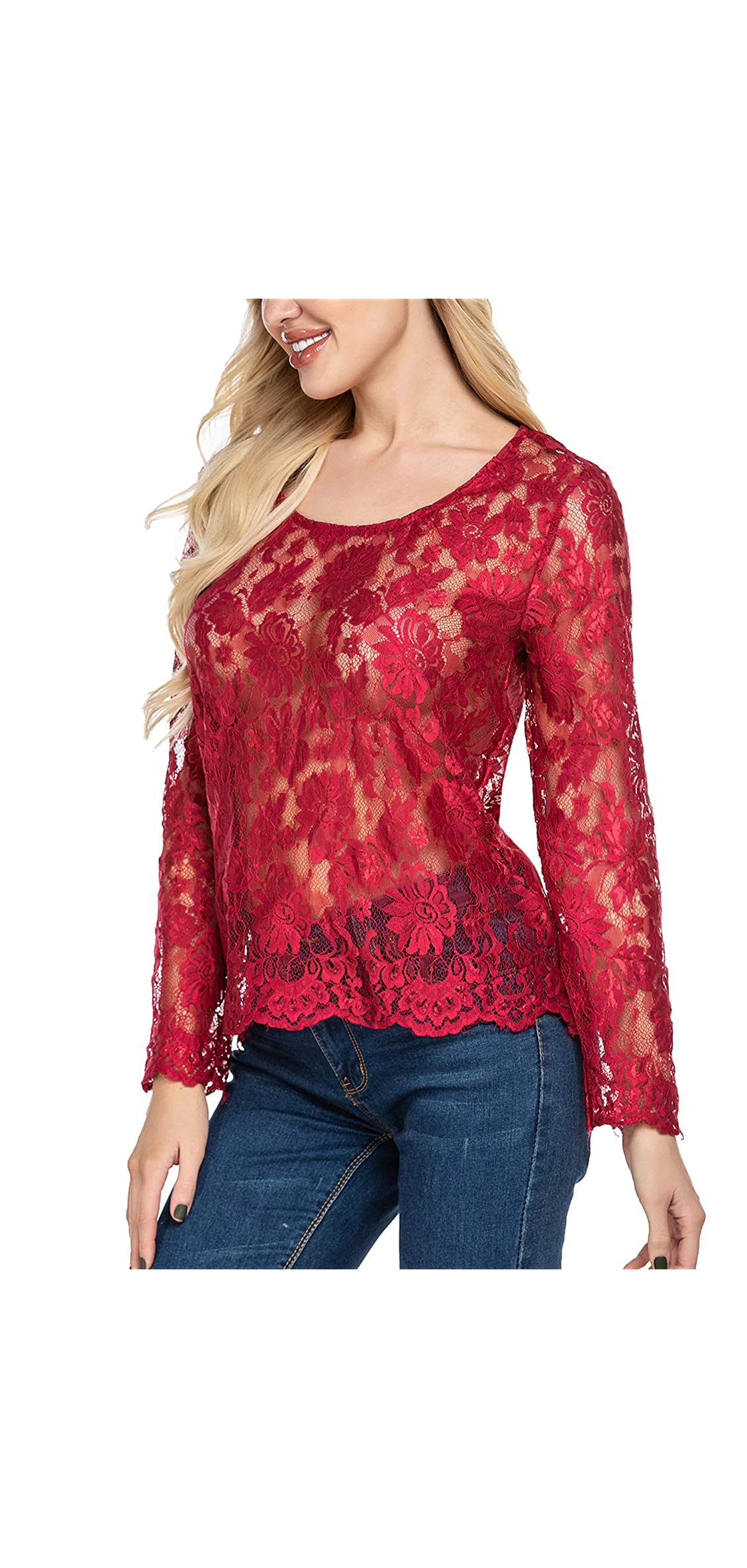 Women's Long Sleeve Sexy Sheer Floral Lace Blouse Top