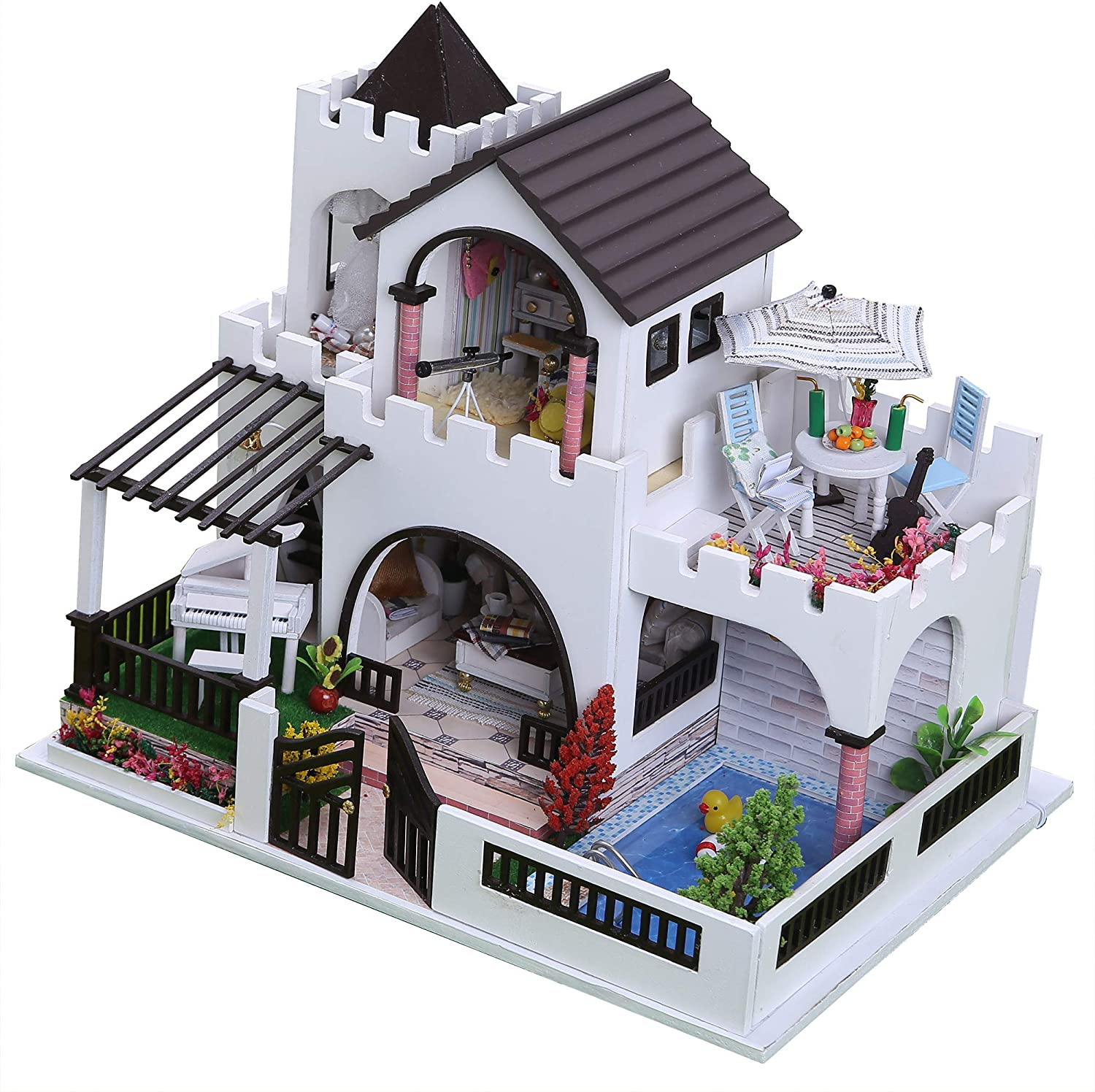 Flever Dollhouse Miniature DIY House Kit Manual Creative with Furniture and Cover for Romantic Artwork Gift (Dreamlike Castle)