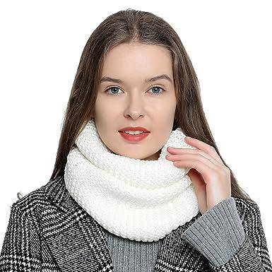 DonDon Écharpe en laine tube pour femme chaude et douce en tricot - Blanc d162ac6f413