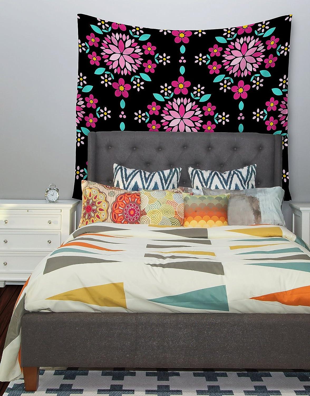 68 X 80 Kess InHouse Anneline Sophia Dahlia Mandala Pink Black Wall Tapestry