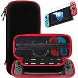 Nintendo Switch trasporta la custodia + Protezione vetrata in vetro temperato premio, SHareconn Portatile Custodia protettiva per custodia da viaggio con coperture rigide con 10 giochi per Nintendo Switch Consolle & Accessori (Nero & rosso)