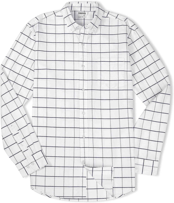 VALANDY Mens Oxford Shirts Regular Fit Long Sleeve Casual Bottom Down Shirts Solid Plaid Stripe