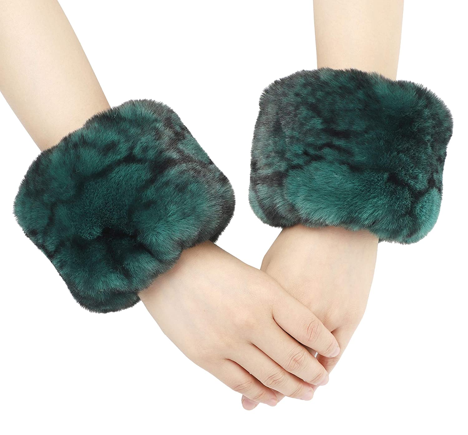 La Carrie Womens Snakeskin Print Faux Fur Wrist Cuffs,Winter Fox Furry Bands Arm Warmer