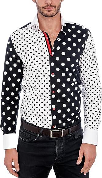 Hawes & Curtis - Camisa Formal - Cachemir - Manga Larga - para Hombre Blanco/Negro Medium: Amazon.es: Ropa y accesorios
