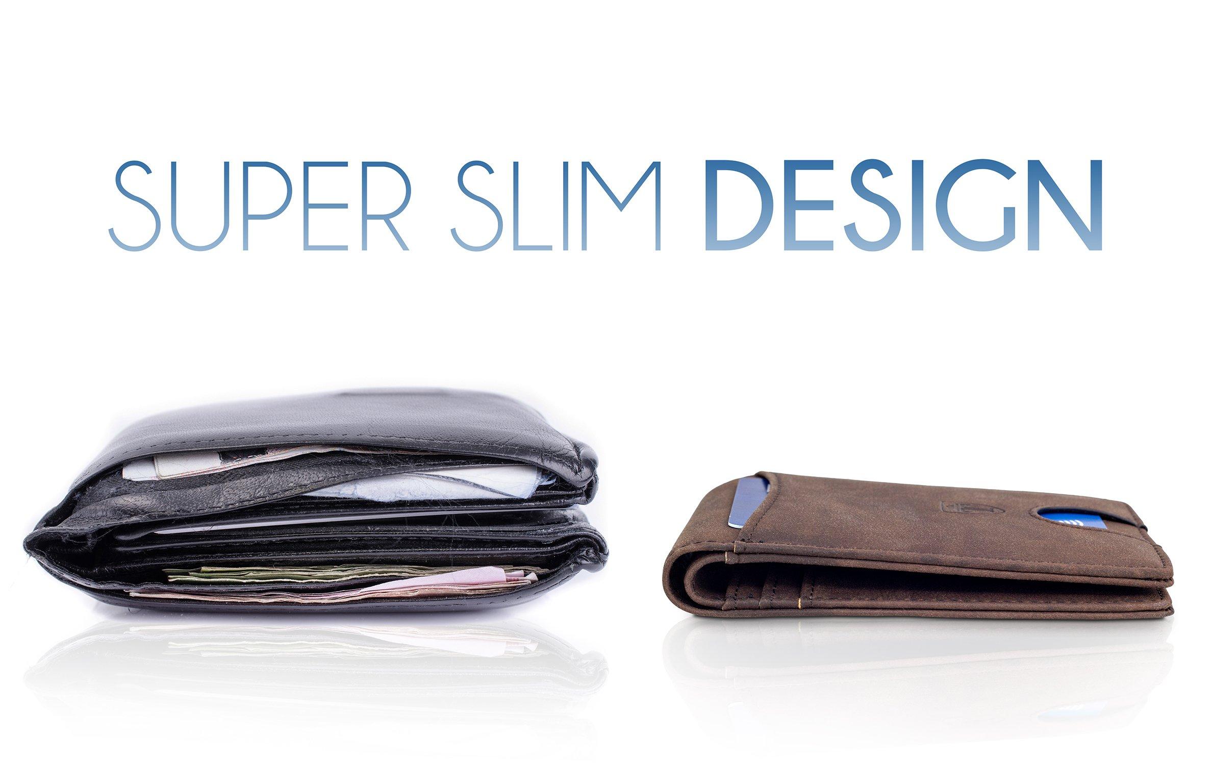 TRAVANDO Slim Wallets BUFFALO - RFID Blocking Wallet - 8 Card Pockets - Mini Credit Card Holder - Travel Wallet - Minimalist Bifold Wallet for Men with Gift Box by Travando (Image #6)