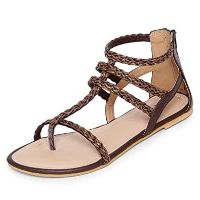 bd8a8ece193d2 MarcLoire Women Gladiator Flats Sandals, Girls Fashion Flat Sandals, Open  Toe Sandals with Back Zipper - Synthetic, Brown, Cream: Buy Online at Low  Prices ...