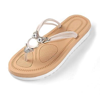 601841d1e501 Aerusi Women s Girl s Comfort Massage Owl Embellished Flip Flops Sandals  Summer Slipper (USA Woman Size