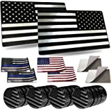 "Aootf American Flag Decals Metal- USA Patriotic Black White Aluminum Sticker, 2 Pack 3 x 5"", for Car, Truck, Vehicle, SUV, Bu"