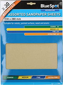 30pc Assorted Sandpaper Sanding Sheets for Metal Wood Plastic Mixed Grit Pack