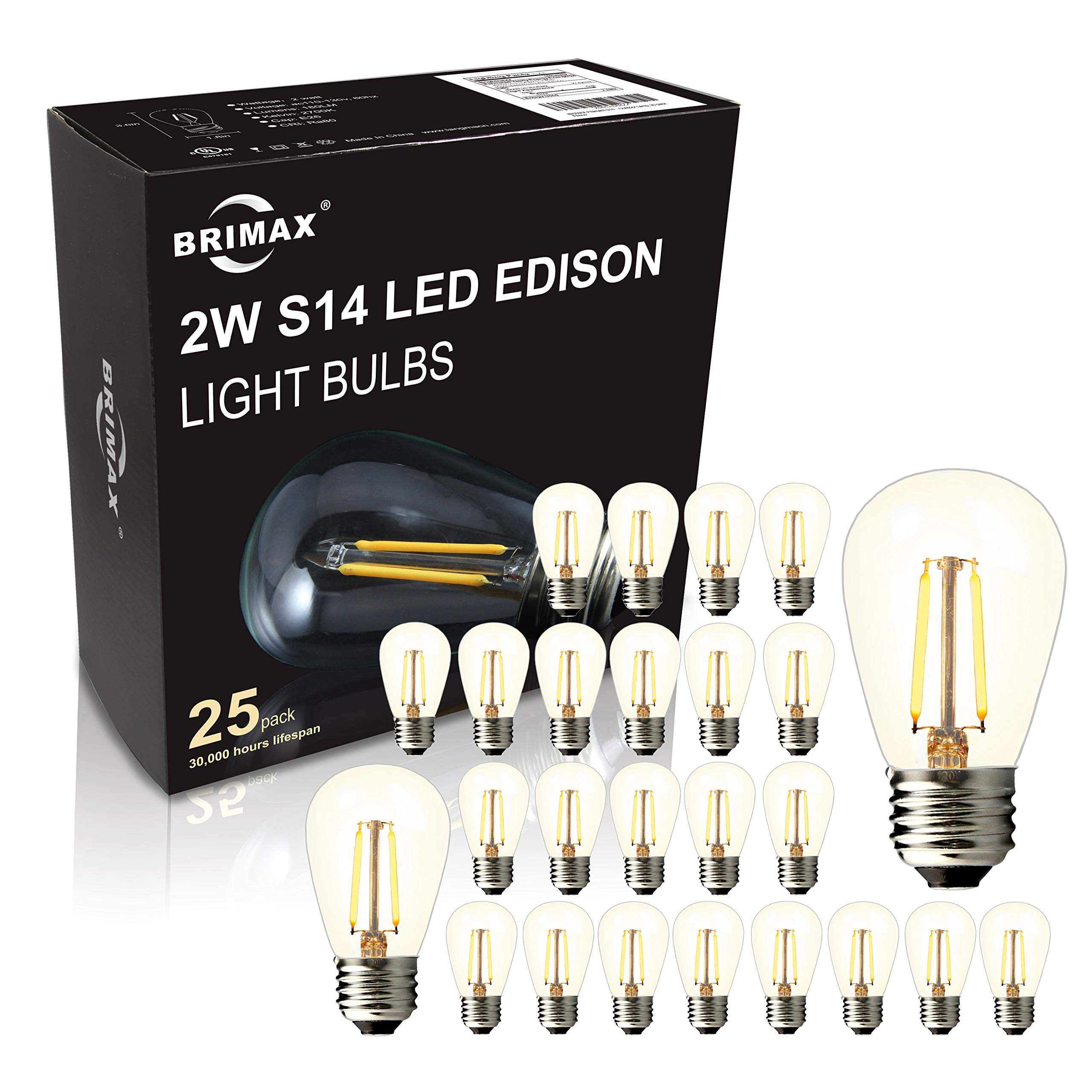 BRIMAX - (25PACK) - 2W S14 LED Outdoor Edison Light Bulbs for String Light Replacement, E26 Medium Screw Base, Dimmable, 2700K, 2Watt to Replace 11w/15w/20w Incandescent Bulb, Weatherproof