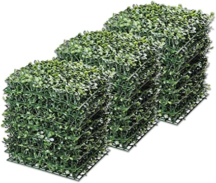 Yescom 24 Pack 10 X10 Artificial Boxwood Hedge Mat With Cable Ties Uv Privacy Fence Screen Greenery Panel Outdoor Decor Garden Outdoor