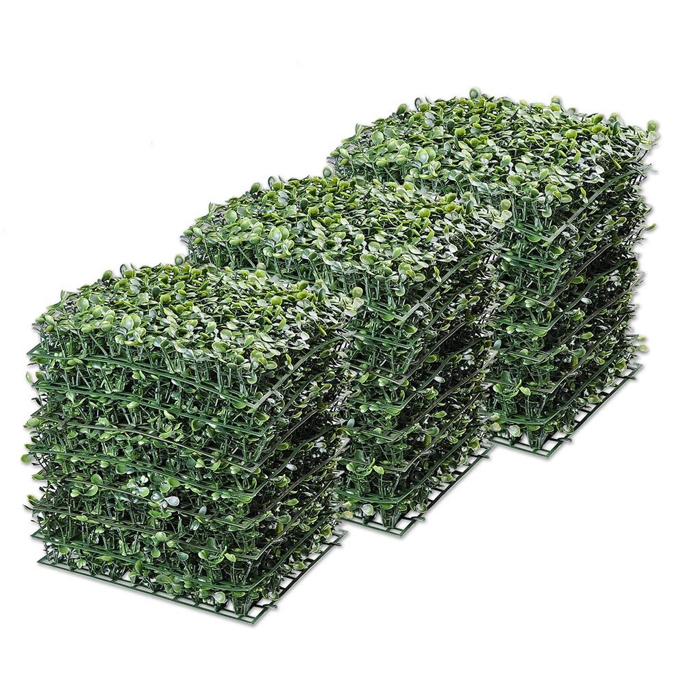 Yescom 24-Pack 10''x10'' Artificial Boxwood Hedge Mat with Cable Ties UV Privacy Fence Screen Greenery Panel Outdoor Decor