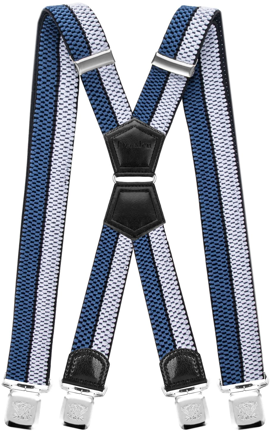 Mens Suspenders X Style Very Strong Clips Adjustable One Size Fits All Heavy Duty Braces (Silver Black Blue)