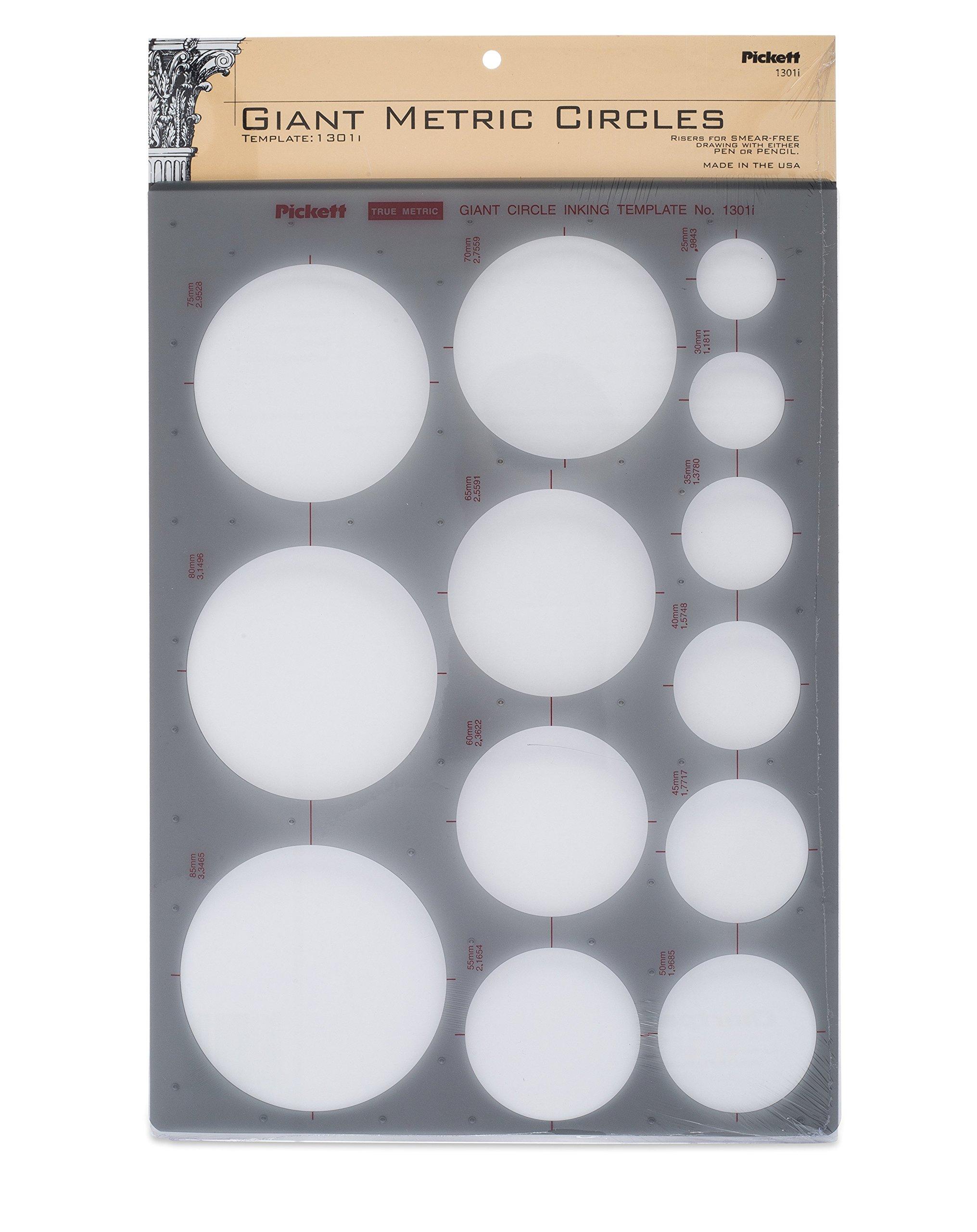 Pickett Giant Metric Circles Template, Circle Range 25mm to 85mm in Diameter (1301I)