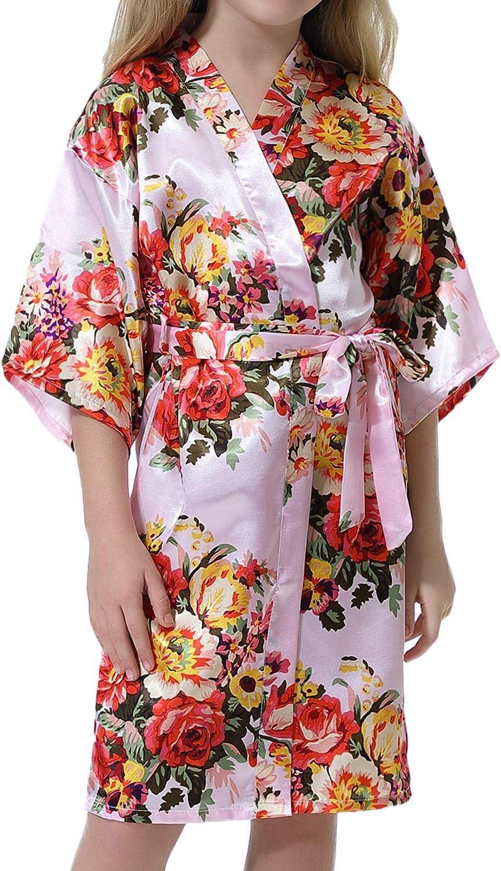 Hawiton Womens Satin Silk Floral Print Robe Wedding Party Kimono Robes