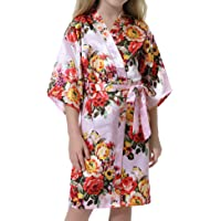 Hawiton Girl's Satin Silk Floral Print Robe Floral Girl Wedding Party Kimono Robes