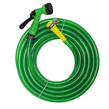 TechnoCrafts PVC Braided Water Hose for Hose Accessories 10 Meter (33 Feet) 3/4 (0.75 inch Or 19mm) Bore Size - 3 Layered Hose Pipe with 7 Function Spray Gun, 1 Tap Connector & 2 Butterfly Clamps