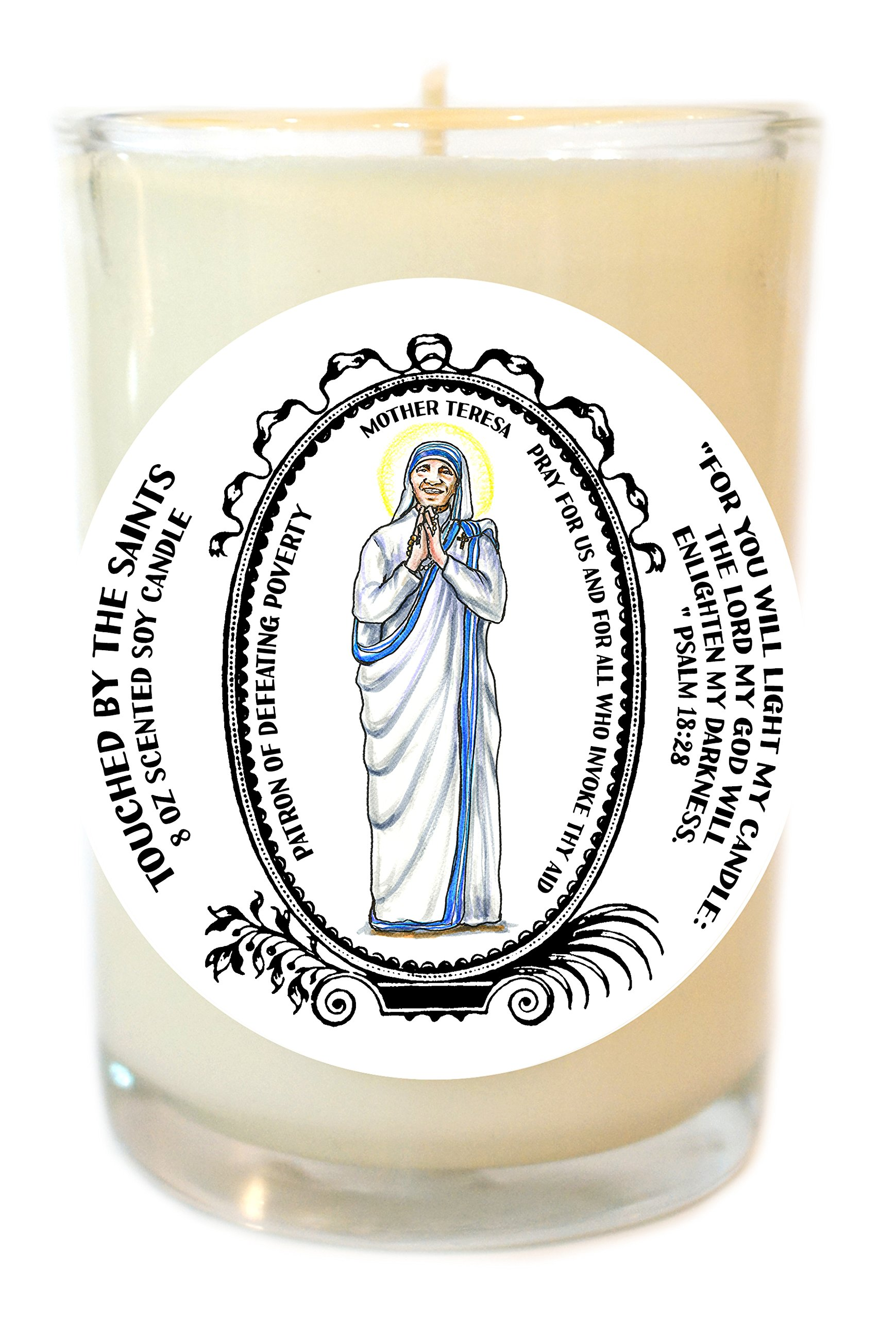 Mother Teresa Patron of Defeating Poverty 8 Oz Scented Soy Prayer Candle
