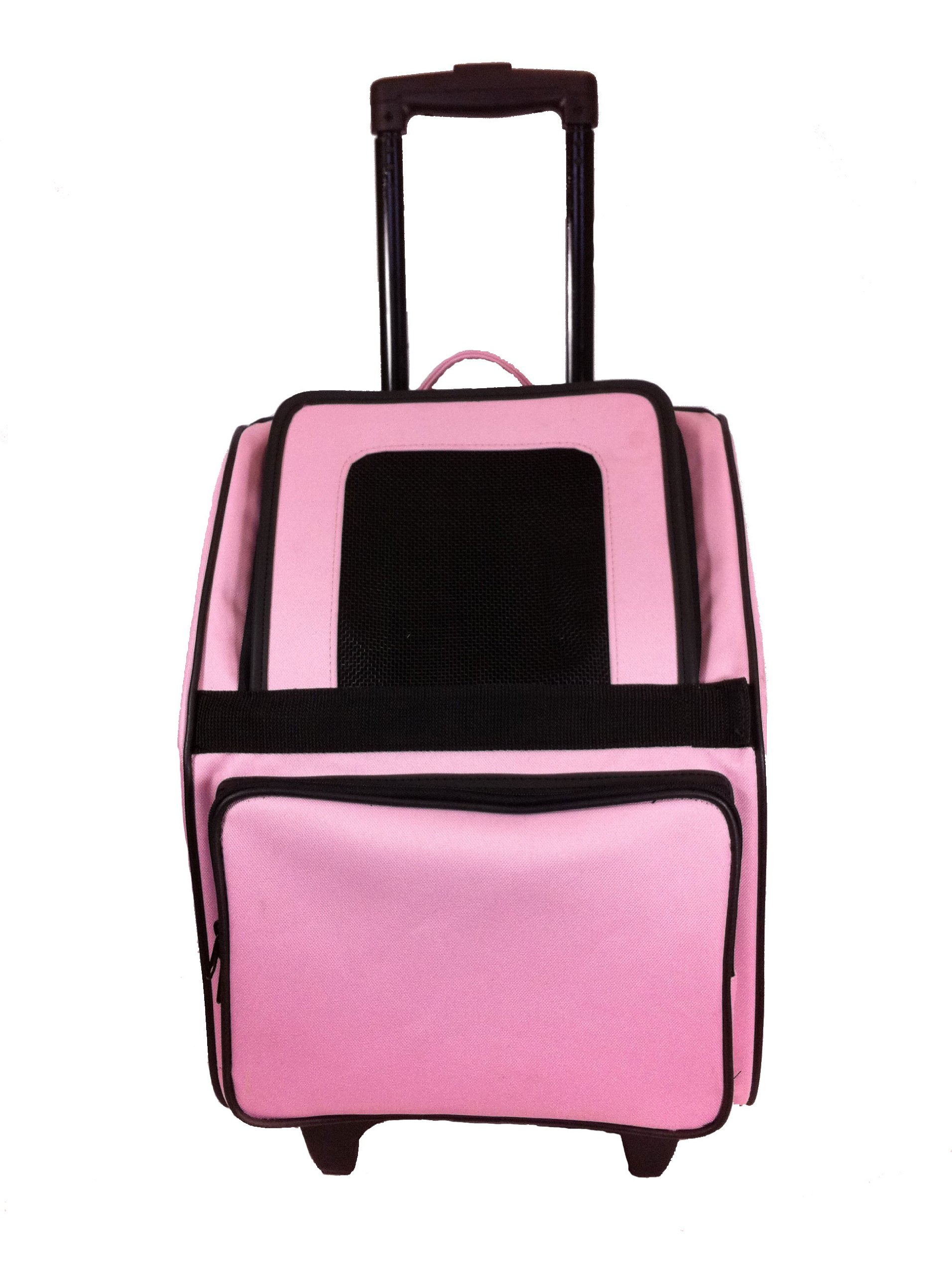 Petote Rio Pet Carrier Bag on Wheels, Black Trim/Light Pink by Petote
