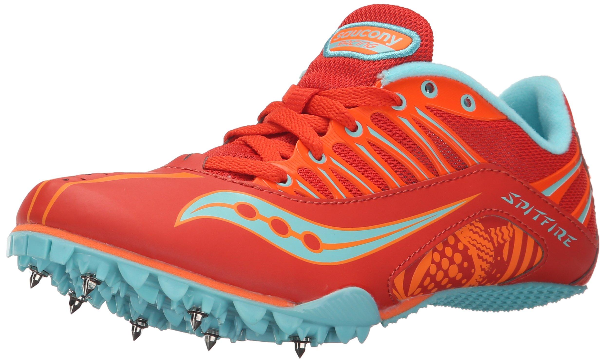 Saucony Women's Spitfire Spike Shoe, Red/Orange/Blue, 8 M US