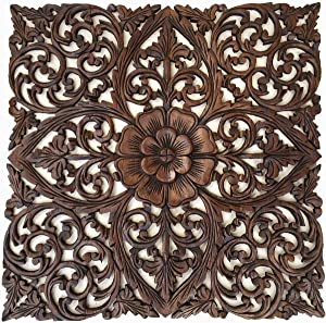 "Rustic Wood Wall Decor. Large Carved Wood Plaque. Decorative Lotus Floral Wood Wall Panel.Oriental Home Decor. 24""Square (Dark Brown)"