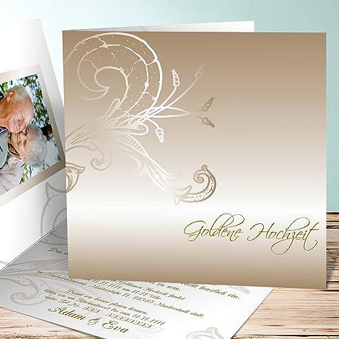 Einladungskarten Goldene Hochzeit Vorlagen, Frühlingsgefühle 5 Karten,  Quadratische Klappkarte 145x145 Inkl. Weißer Umschläge