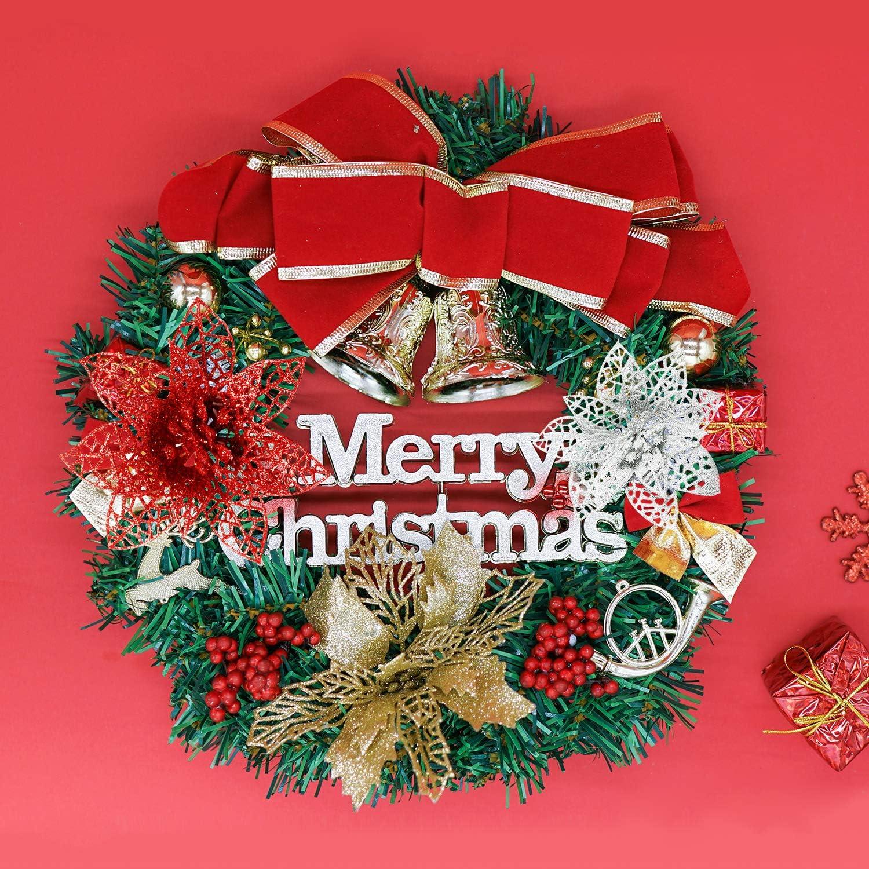 12 PCS Poinsettia Flower Artificial Pointsettas Christmas Decorations Glitter Poinsettias Christmas Ornaments Christmas Tree Flower Decorations with Stems DIY Xmas Wreath Holiday Weed Home Party Decor