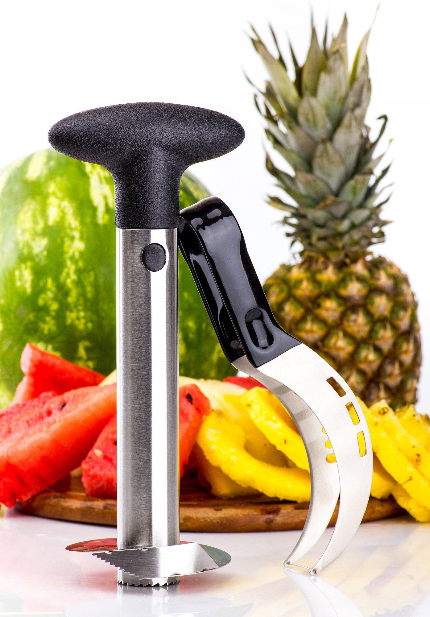 Watermelon slicer plus BONUS Pineapple Slicer, Pie & Cake Slicer, Cutter, Corer & Tongs - 2-in-1Server Knife - Kid Friendly - Premium 430 Stainless Steel - Comfortable & Non Slip Handle