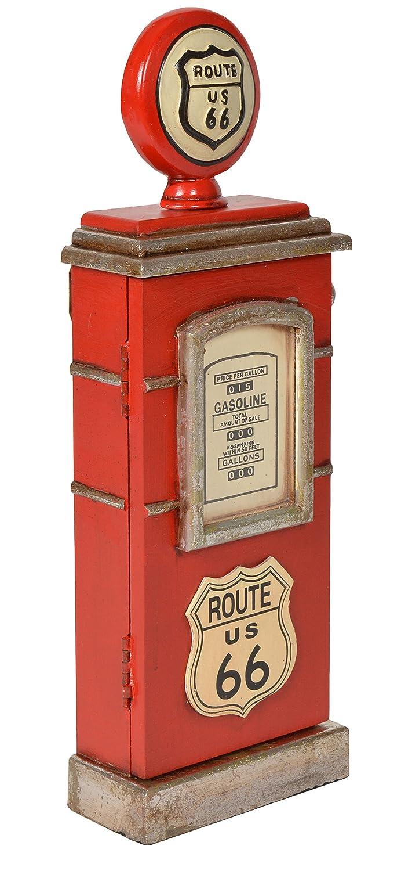 ts-ideen Mobiletto Comodino Colonnina porta Chiavi in Rosso stile retro motivo Design Pompa di benzina 48 x 17 cm