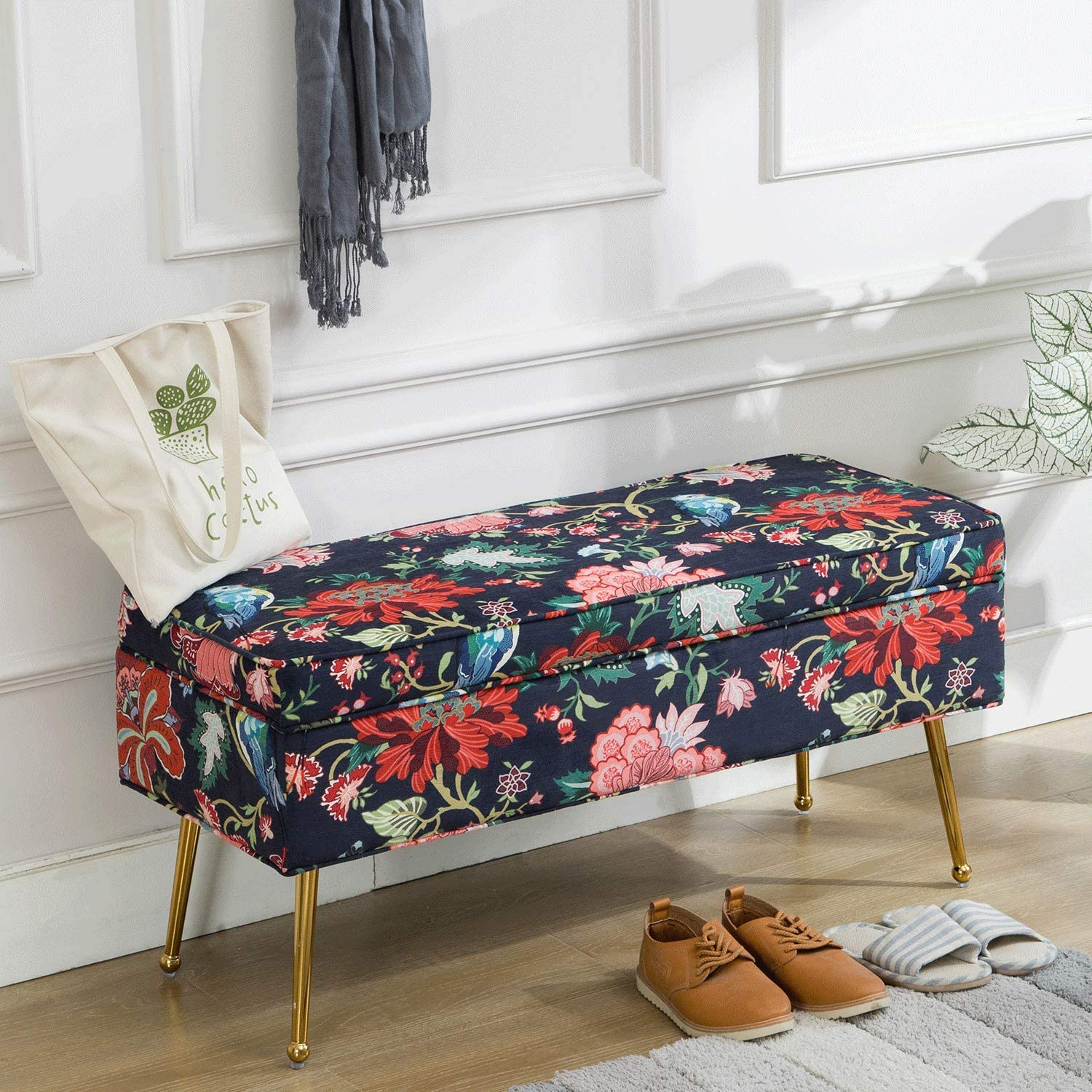 Amazon Com Zh4you Mid Century Collapsible Storage Bedroom Benches Rectangular Velvet Accent Entryway Bench With Gold Plating Metal Legs Retro Floral Print Red Flower Kitchen Dining
