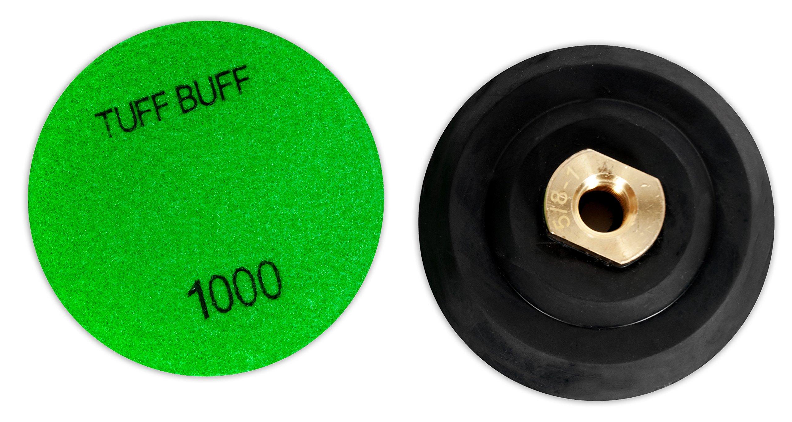 TUFF BUFF - Wet/Dry Diamond Polishing Pads - 11 Piece Set with Rubber Backer for Granite, Stone, Concrete, Marble, Travertine, Terrazzo- 4'' Inch Pads by Tuff Buff (Image #6)