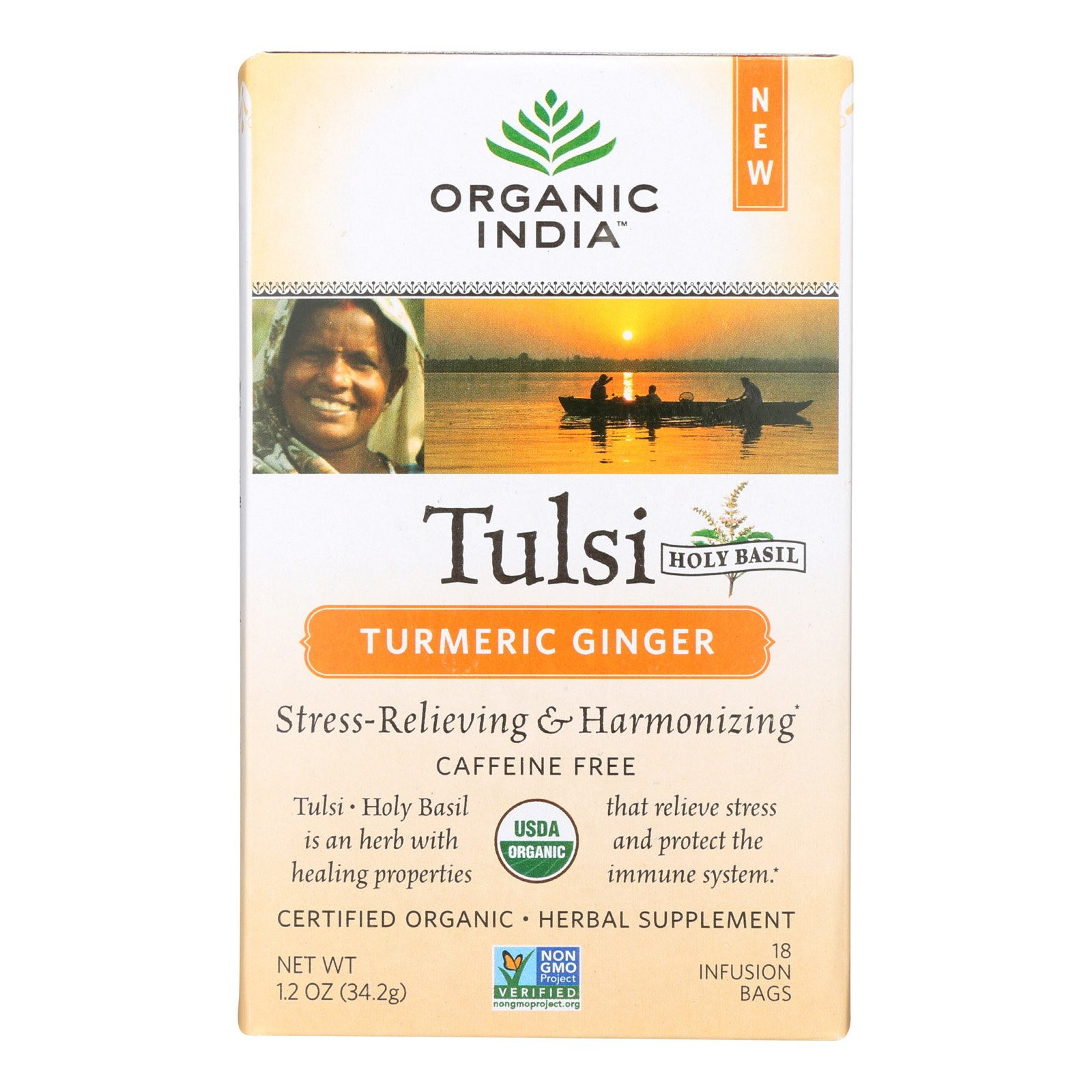 Organic India Tulsi Ginger Turmeric 18 Tea Bags