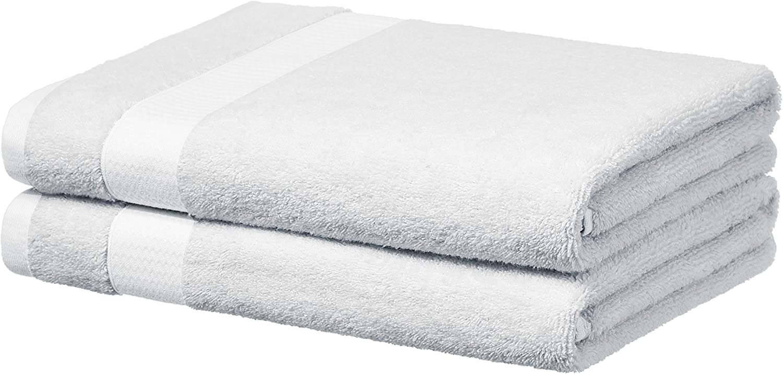 AmazonBasics Everyday Bath Towels, Set of 2, White, 100% Soft Cotton, Durable