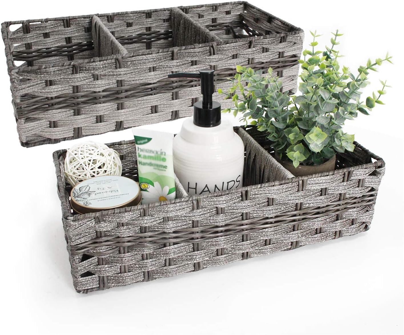 Unistyle Toilet Paper Basket, Storage Basket for Toilet Tank Top, Toilet Tank Tray Basket, Decorative Basket for Bathroom 2 Pack, Grey