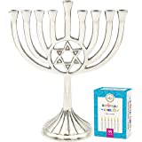 "The Dreidel Company Menorah with Traditional Star Polished Aluminum Finish, Full Size 9"" - Includes Box of 44 Elegant White C"