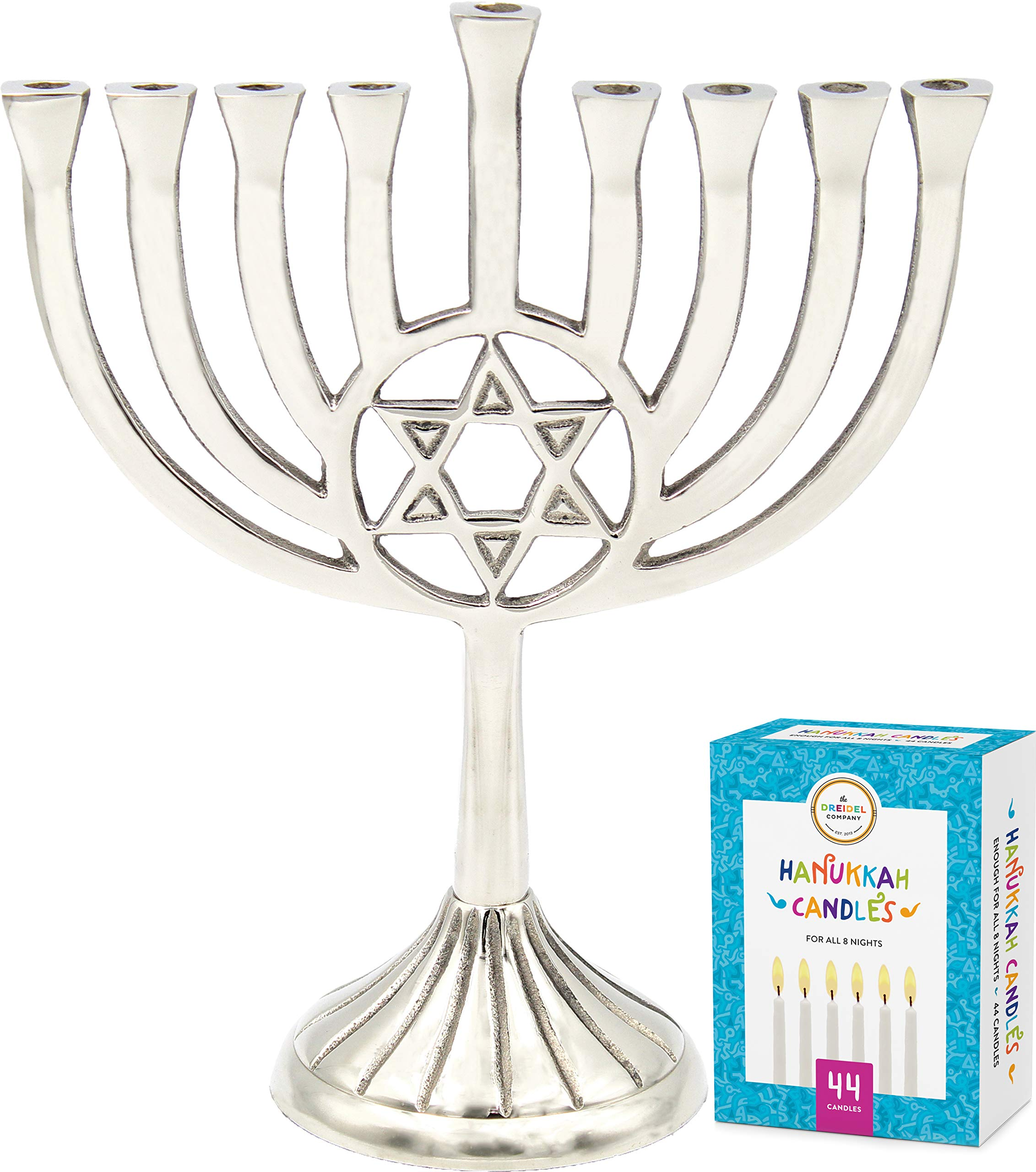The Dreidel Company Hanukkah Menorah with Traditional Star of David Polished Aluminum Finish, Full Size 9'' - Includes Box of 44 Elegant White Candles