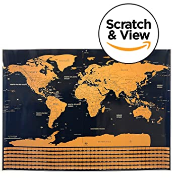 amazon scratch off world mapポスター includes a scratchスクラッチ