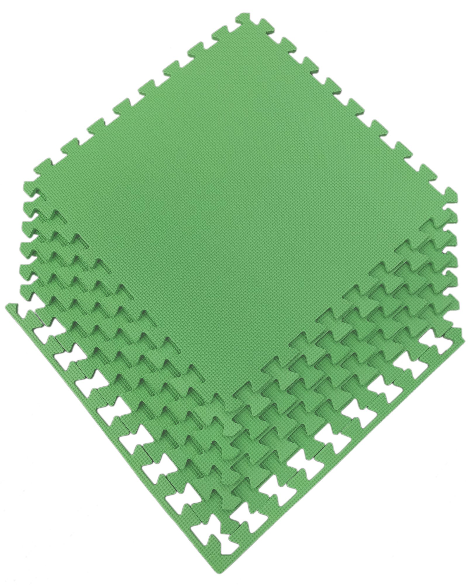 Ottomanson Multipurpose Interlocking Puzzle Eva Foam Tiles-Anti-Fatigue Mat 24 Sq. Ft, 24'' x 24'' Tiles, Green by Ottomanson