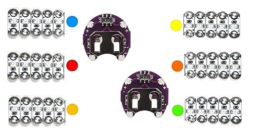 AMX3D Lilypad Arduino - Luces LED multicolores y 2 soportes de ...