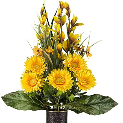 Amazon Yellow Gladiolus And Daisy Mix Artificial Bouquet