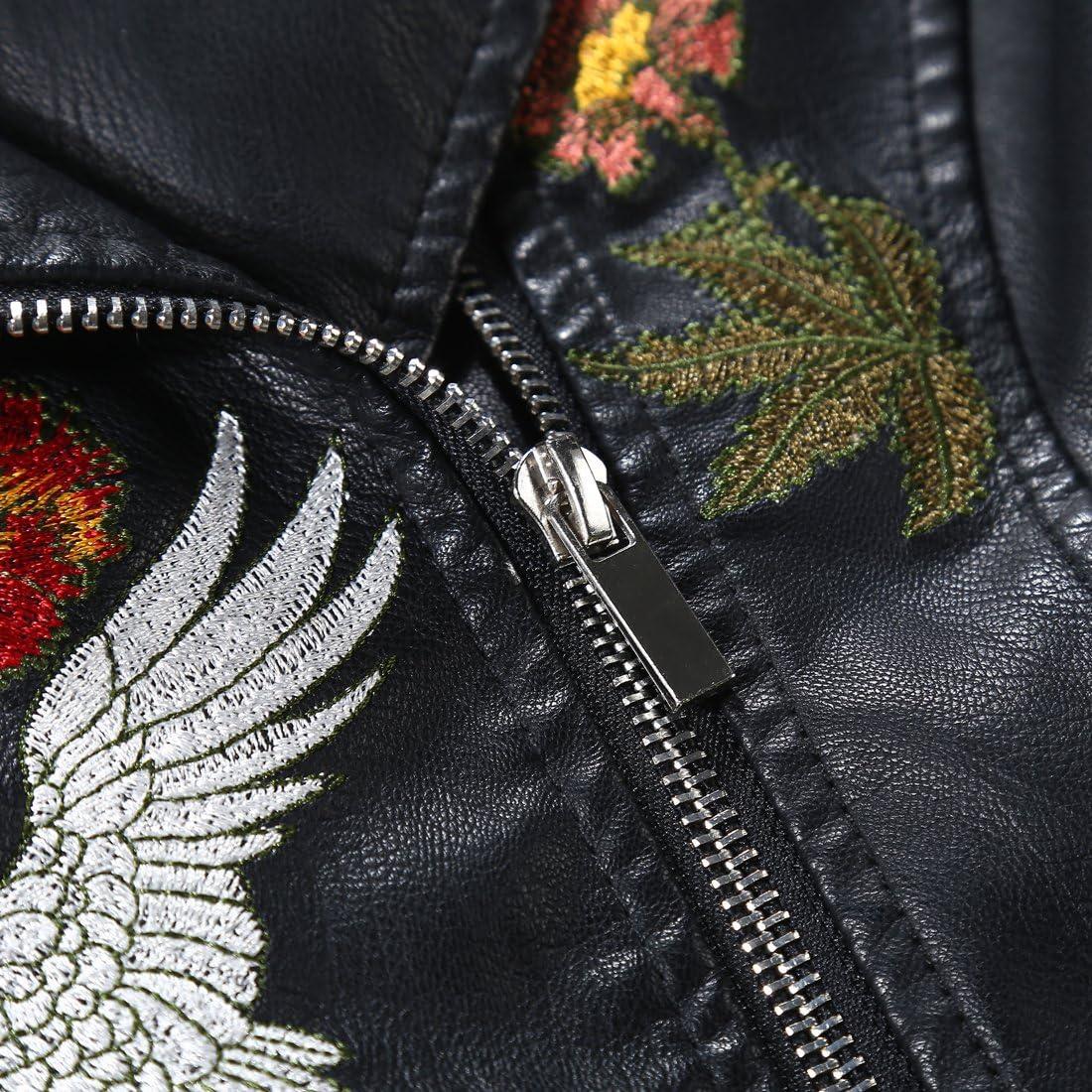 Tanming Womens Faux Leather Moto Biker Short Coat Jacket