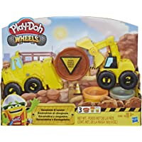 Play Doh - Wheels - Excavator & Loader Construction Trucks Playset - With Sand Building Non-Toxic Modelling Dough - Kids…