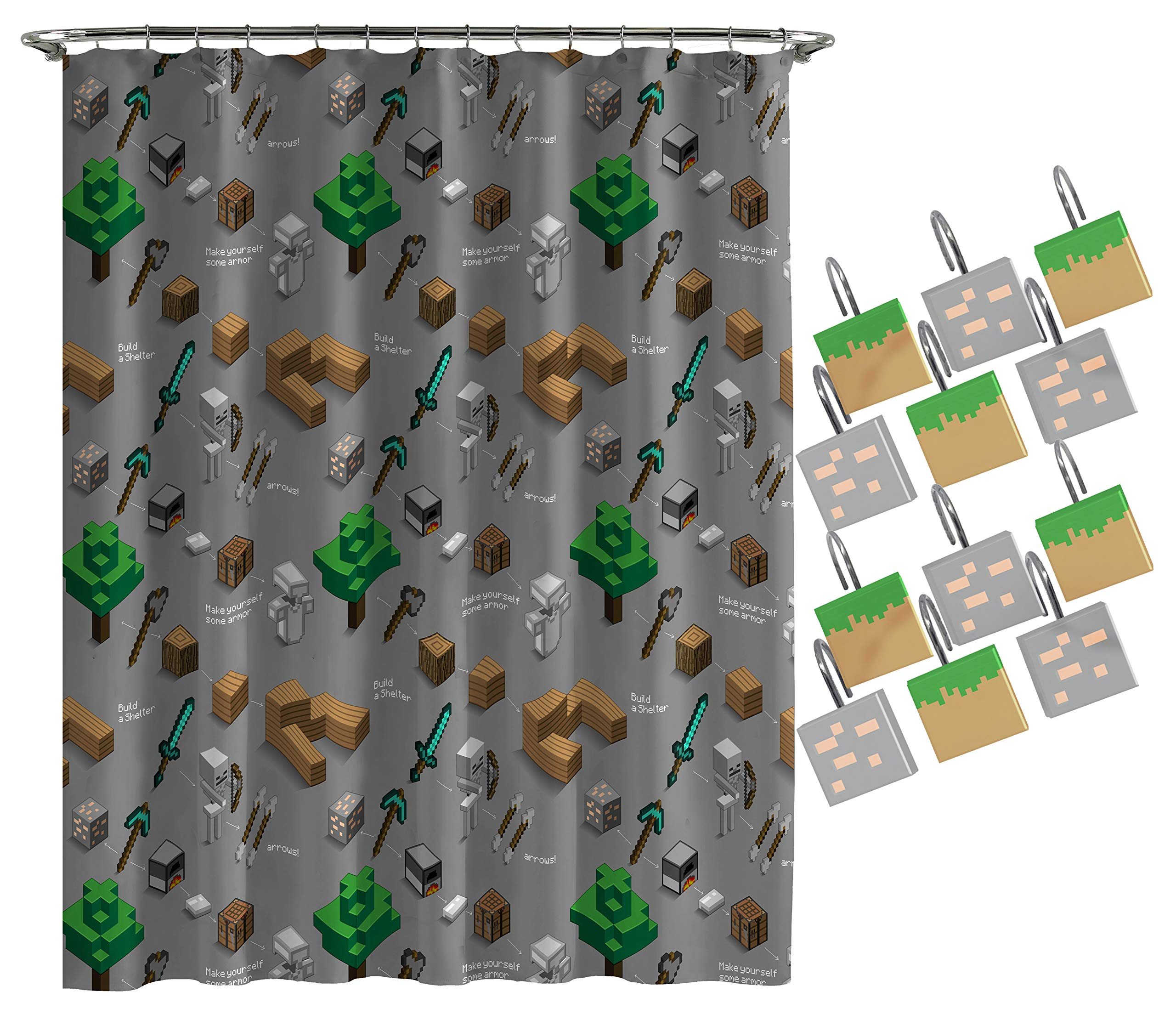 Jay Franco Minecraft Survive Shower Curtain & 12-Piece Hook Set & Easy Use (Official Minecraft Product)