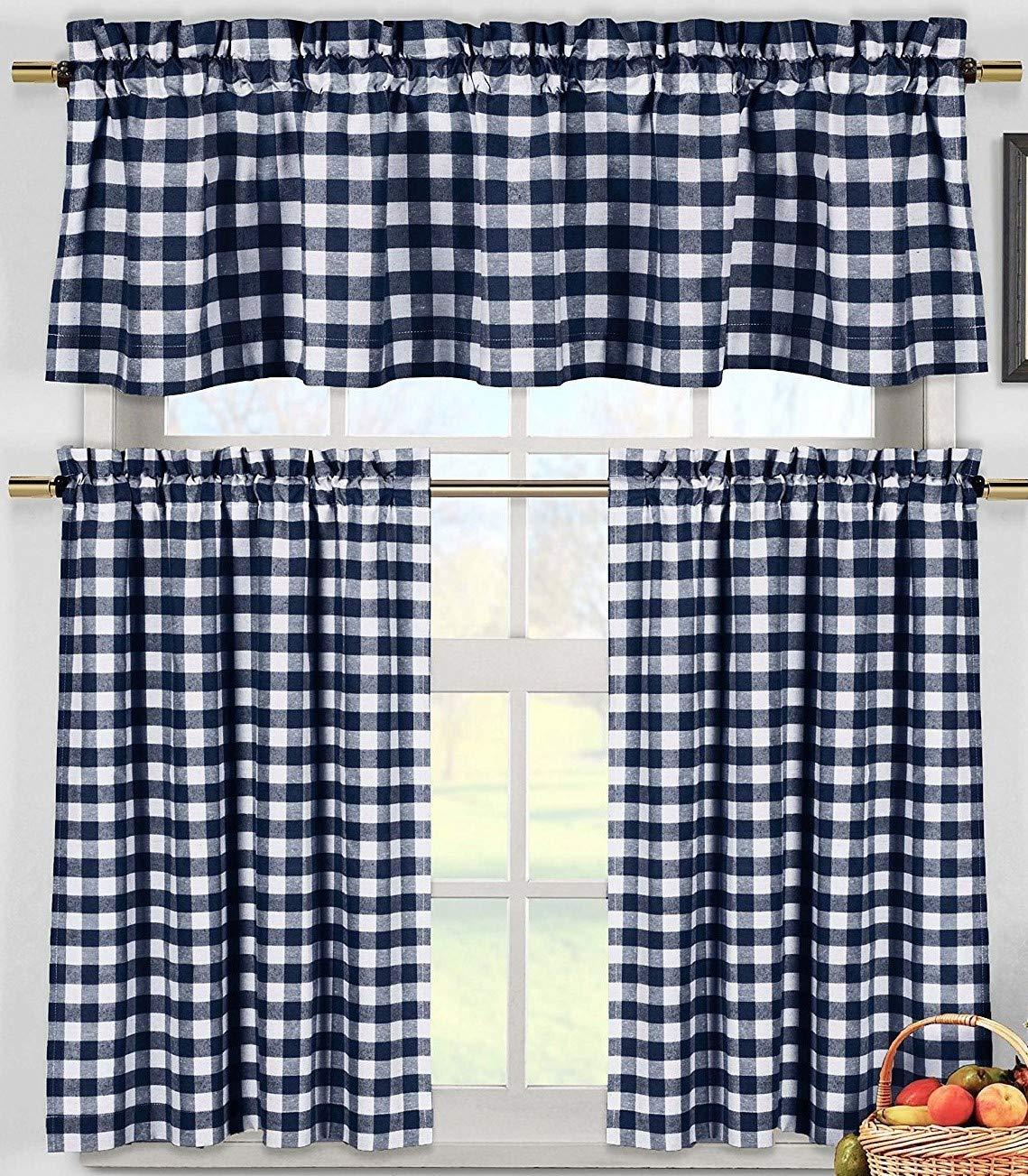 lovemyfabric Poly Cotton Gingham Checkered Plaid Design 3-Piece Kitchen Curtain Valance Window Treatment Set (Navy Blue)