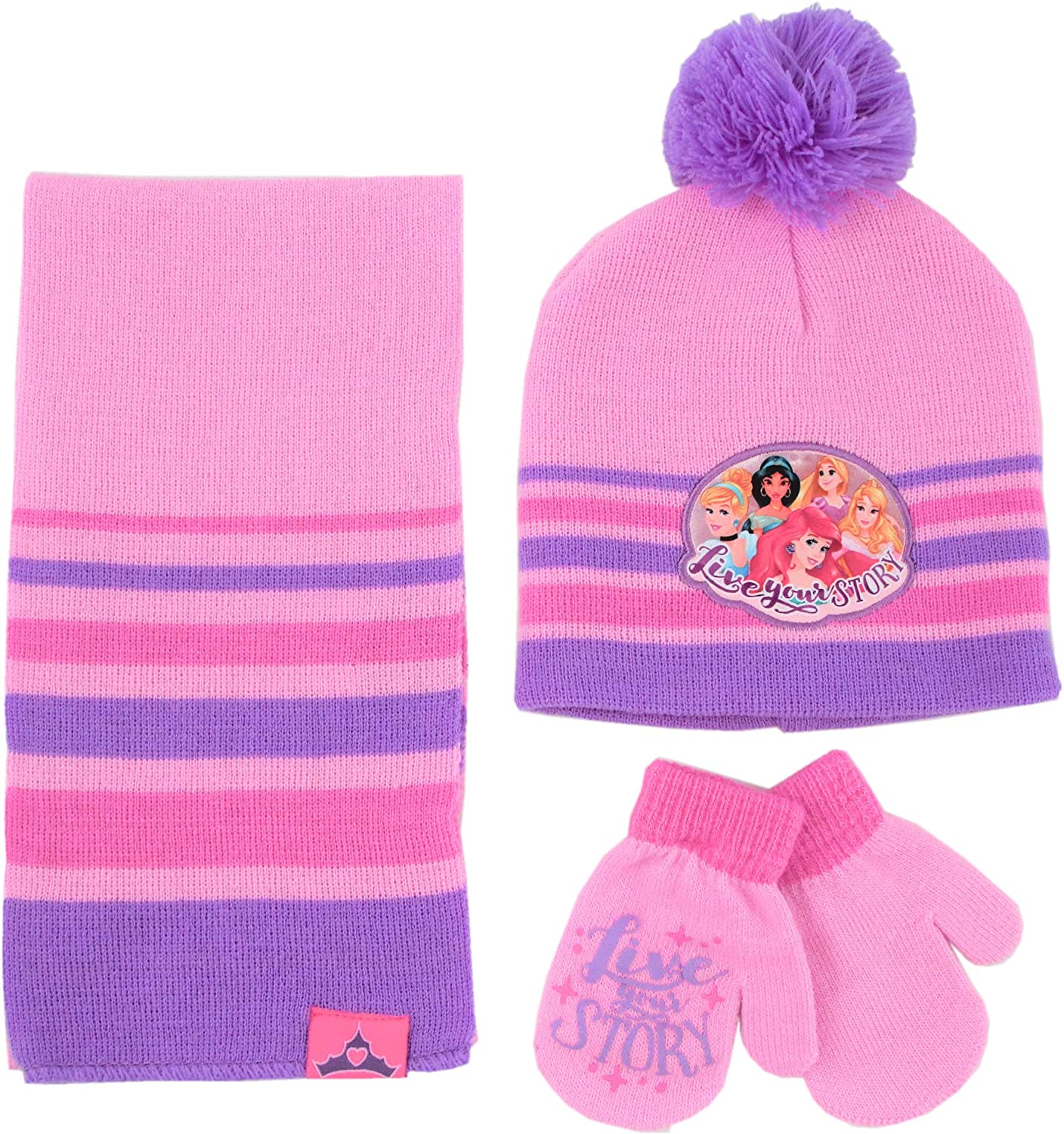 Disney Girls' Princess Hat, Scarf and Gloves or Mitten Cold Weather Set