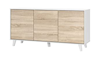 zaiken plus buffet contemporain blanc brillant et decor chene canadien l 154 cm